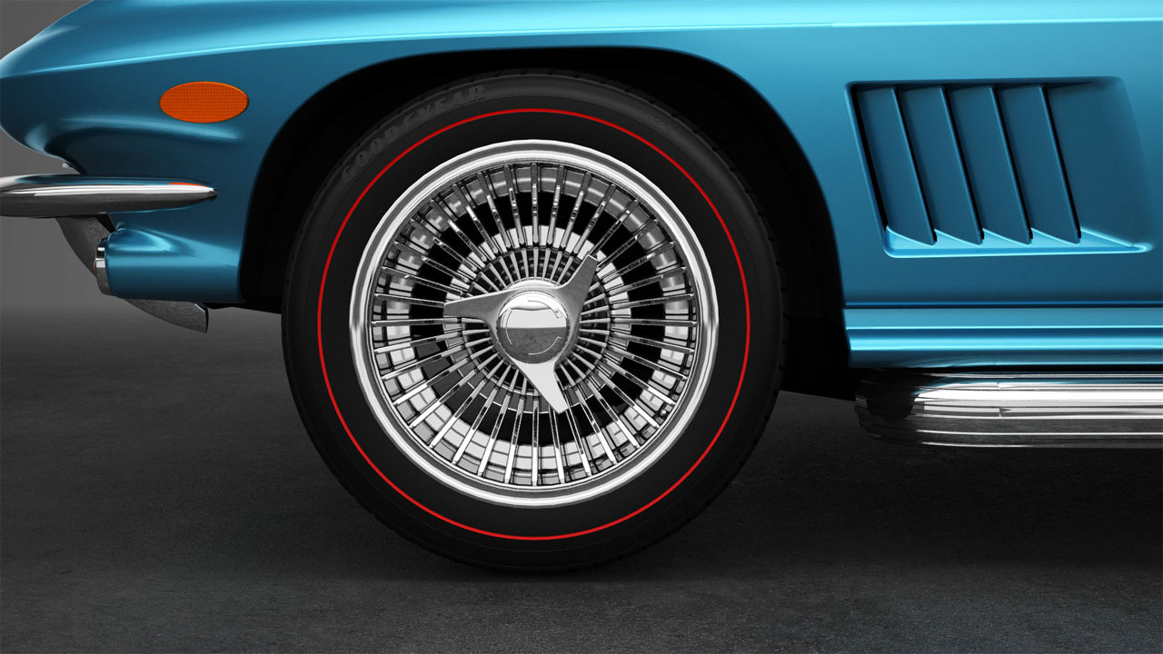 Side view rendering of a knock-off wheel for a 1967 Corvette rebody.