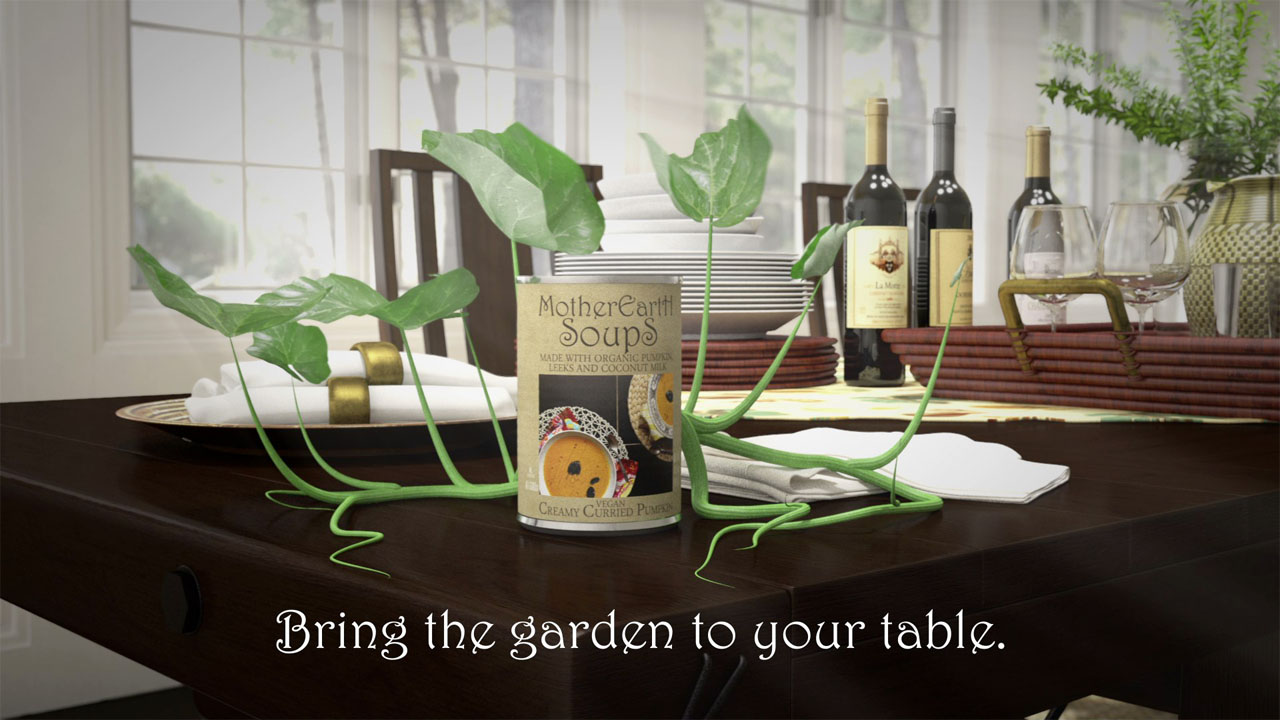 A frame from the advertisement with the animated plant surrounding the soup can fully grown.