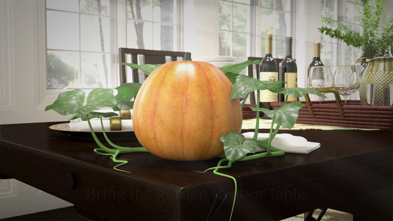 A view from the animated commercial showing the soup can now morphed into a pumpkin, with the rest of the dining room still visible.