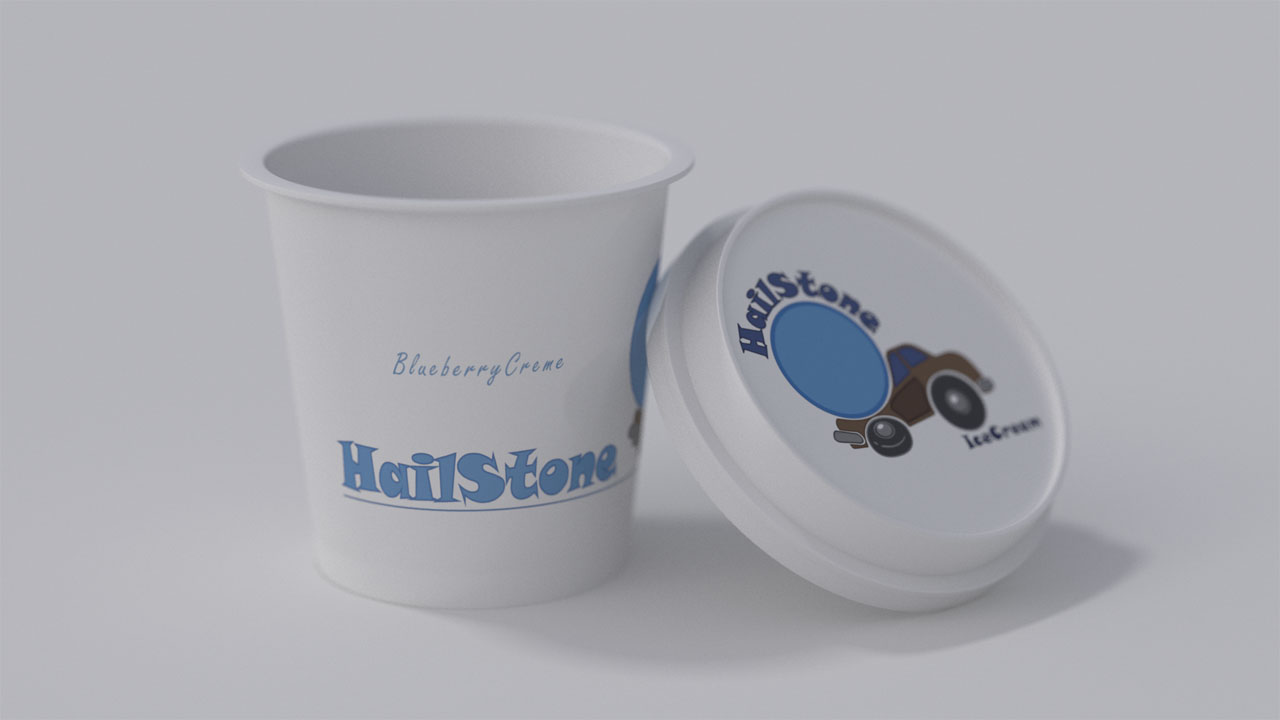 A close up rendering of just the ice cream container, with full and realistic detail so that it is suitable for any print or web marketing use.