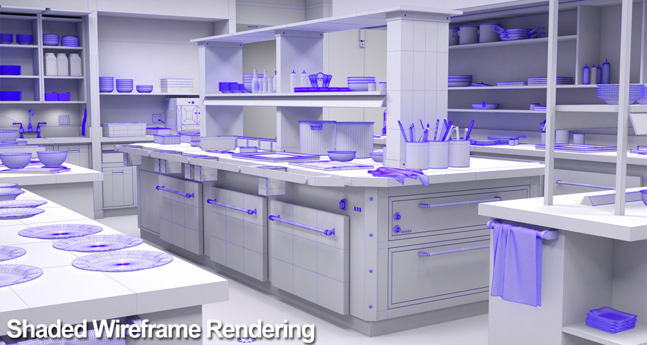 A shaded wireframe rendering of the commercial kitchen design created for this cartoon background.