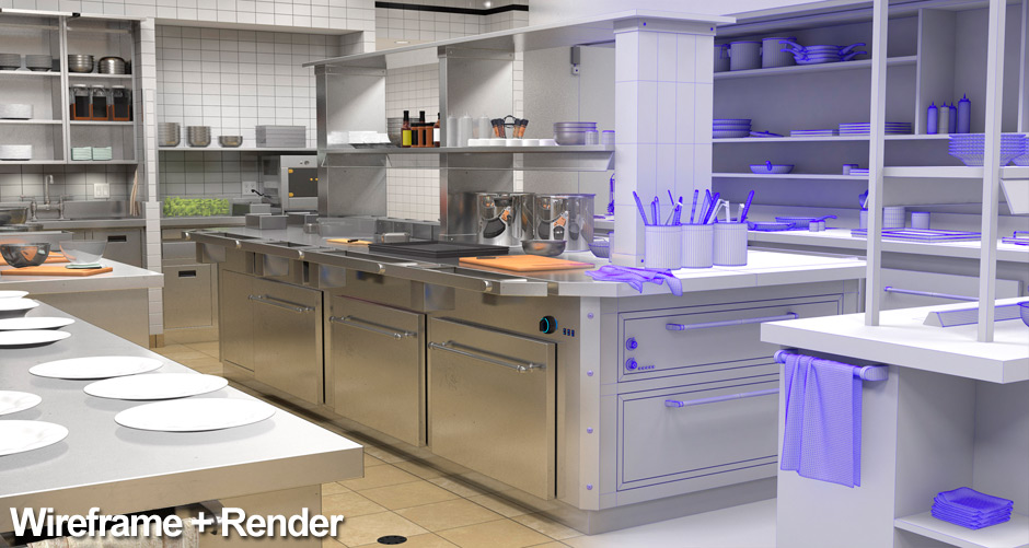 A view of the commercial kitchen interior that is split between wireframe and fully realistically rendered cartoon background art.