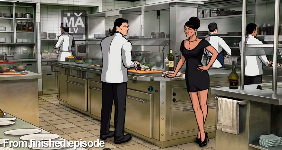 A still frame from Archer of the commercial kitchen interior, combining Trinity's background illustration with the shaded characters of the show.
