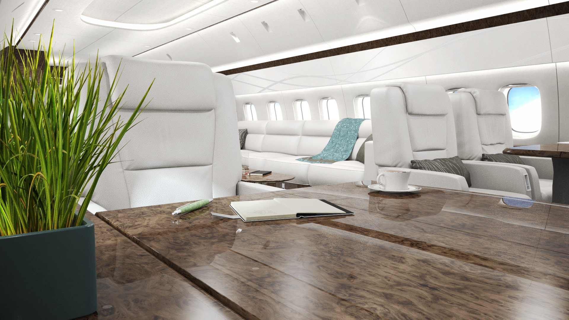 Marketing rendering of the VIP area of a private jet, including bright exterior sunlight entering from the port windows, illuminating a meeting table and sofa.