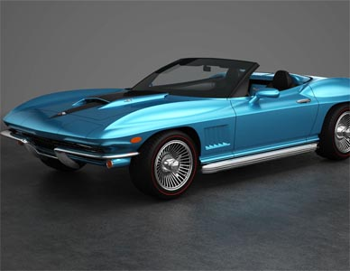Full view rendering of a 1967 Corvette rebody design that installs on a modern Corvette.