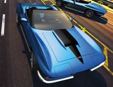 Dramatic cover illustration of two 1967 Corvette rebody designs parked near a tunnel exit.