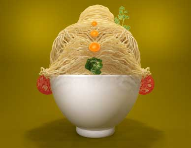 3D rendering advertisement for pasta, with angel hair pasta arranged in a bowl and garnished as a female hairstyle.