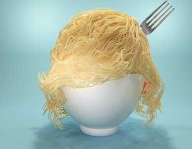 A computer visualization for an advertisement showing thin spaghetti pasta in a bowl designed to look like a lady's hairstyle.