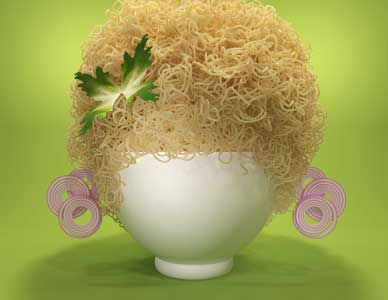 The afro hairstyle advertisement rendering created with nothing more than angel hair pasta, a white bowl and garnishes.