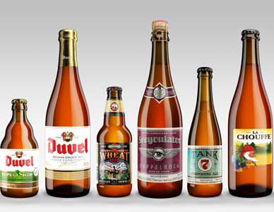 The european beer lineup of beauty shots, with each bottle rendering perfect for use in any print or web advertising.