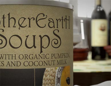 A still from the marketing animation showing a close up of the soup can label with the background blurred out.