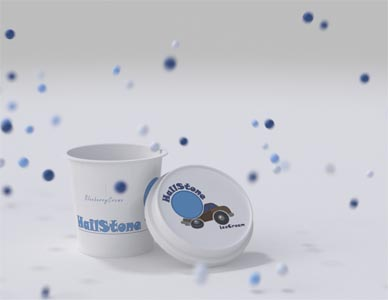 A close up rendering from the advertisement with the container at center and the ice cream stones falling all around it.