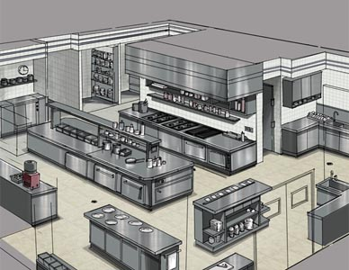 Reference drawing for this project showing an isometric view of a commercial kitchen.