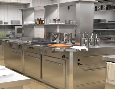 A delivered cartoon background image with realistic shading, depicting a commercial kitchen interior.
