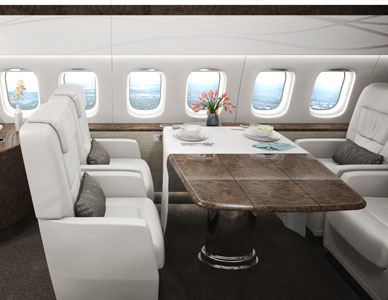 A rendered view from the front seating area of a private jet, just behind the cockpit area and showing the adjacent table.