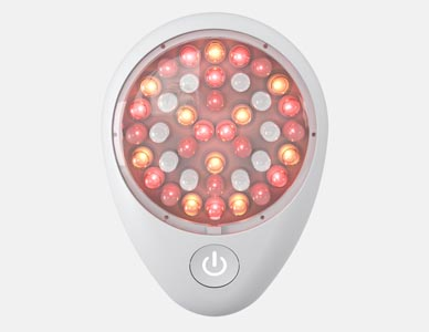 A marketing image of an LED light emitting device in a red/white configuration.