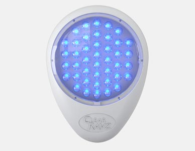A product marketing rendering of the Clear Rayz device in blue light mode.