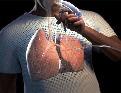 View of rendered human breathing through a nebulizer, highlighting the human lungs.