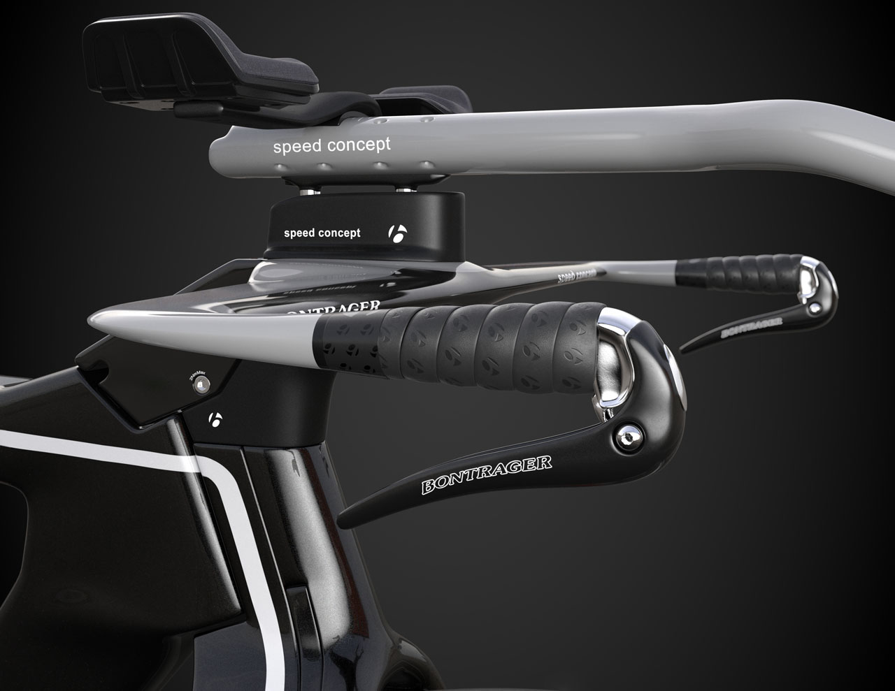 Side view of the handlebars of a fully rendered bicycle.