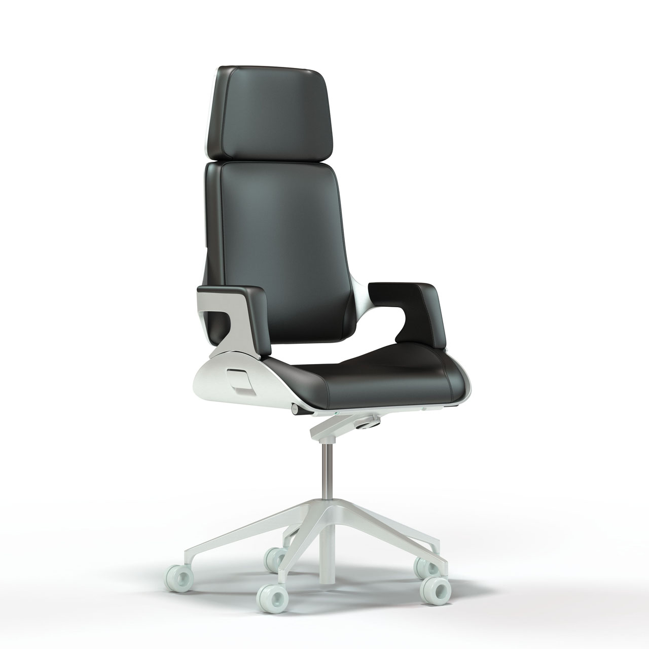 Rendering of a sleek ultra modern aluminum and leather high back task chair with polished base.