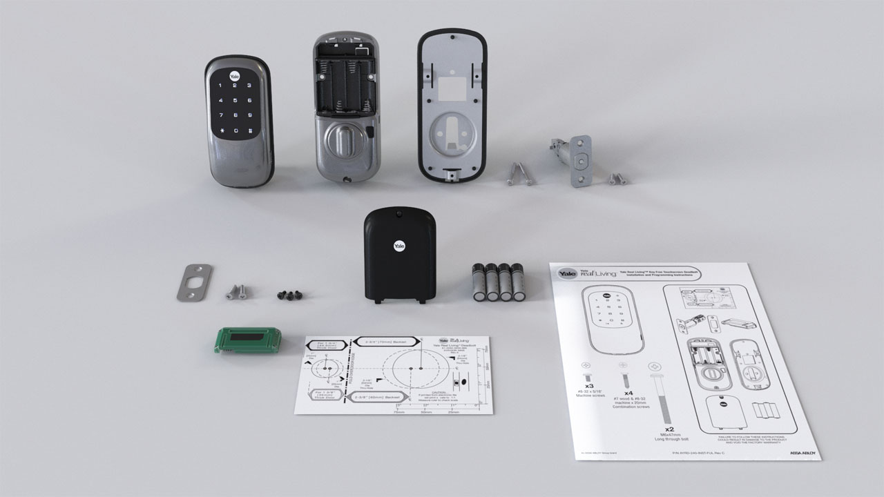 3D rendering of every item from a list of parts included in a Yale locks electronic deadbolt system.