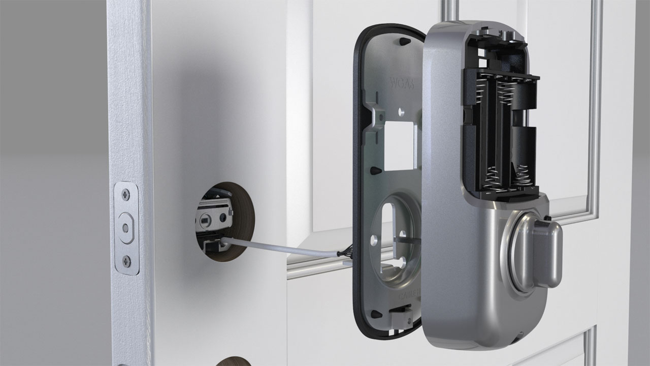 Exploded view rendering showing the installation process for a Yale locks electronically controlled deadbolt.