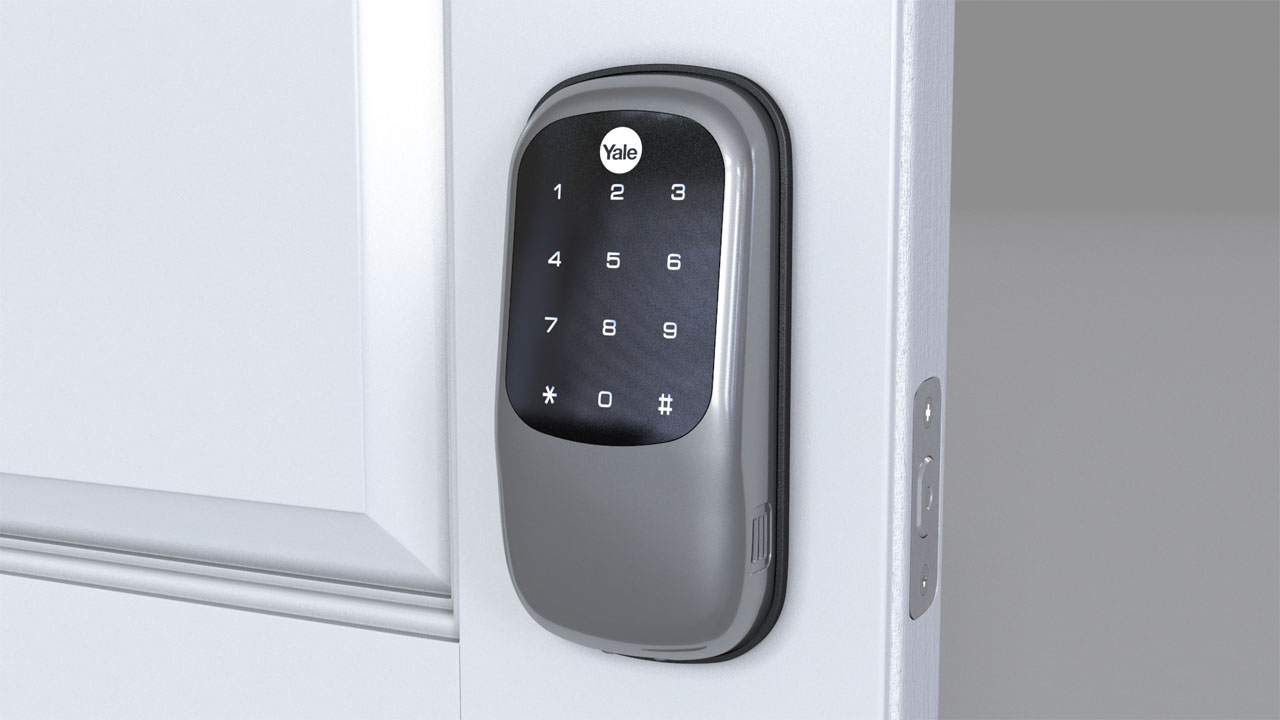 Rendered view of a finished installation showing the Yale keypad controller mounted on the door.