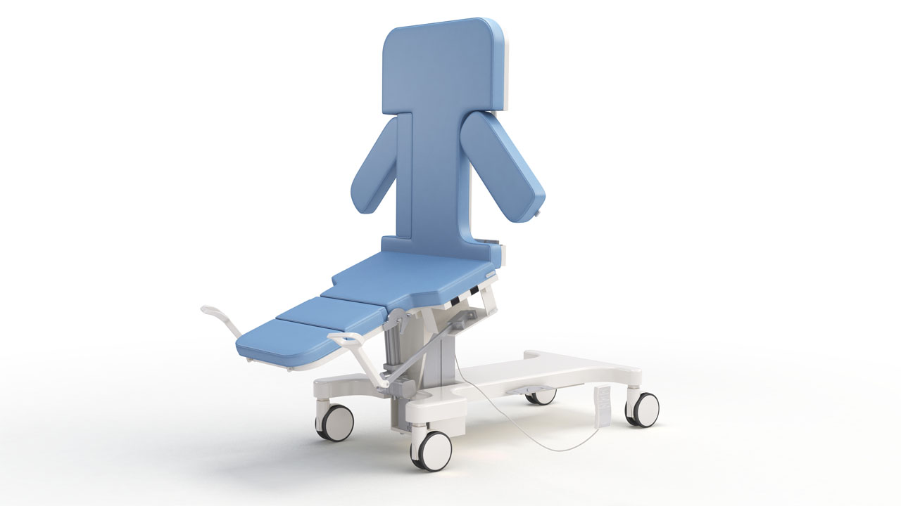 A white room rendering of a repositionable medical bed, configured into a seated position with stirrups in place.