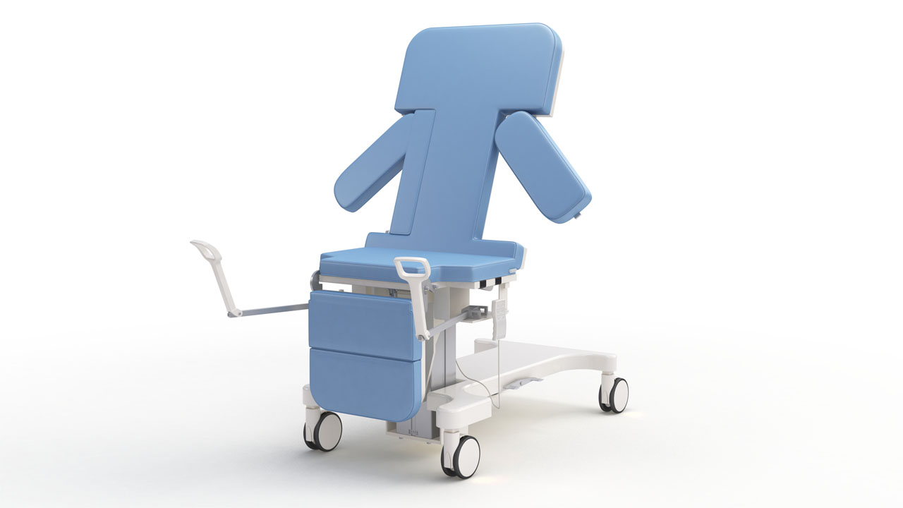 Marketing rendering of a repositionable medical bed, configured to allow a seated position for the patient.