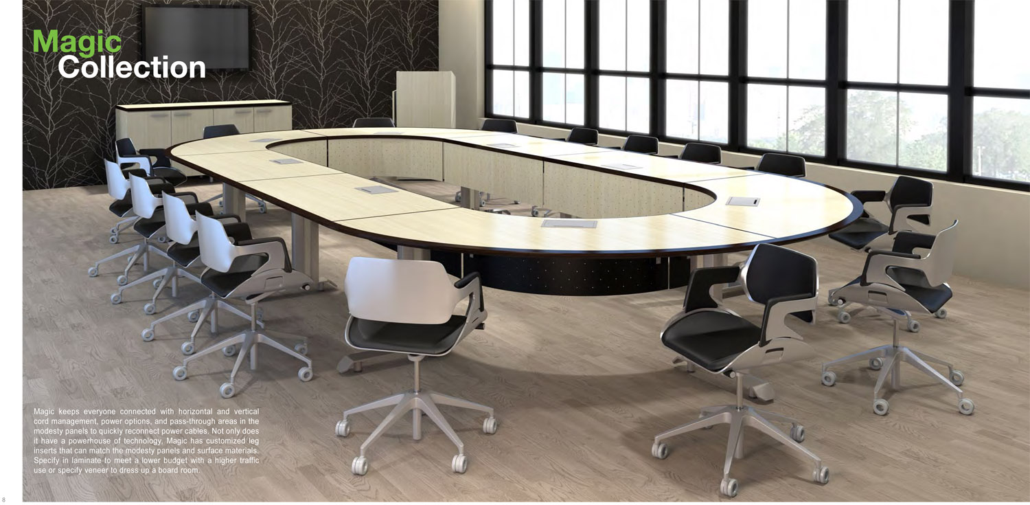 3D rendering of a racetrack-style office table in a conference room, with Kimball Silver style chairs surrounding it.