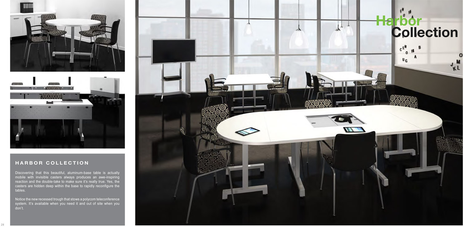 Rendering of a conference table finished in white, depicted in a high rise office area.