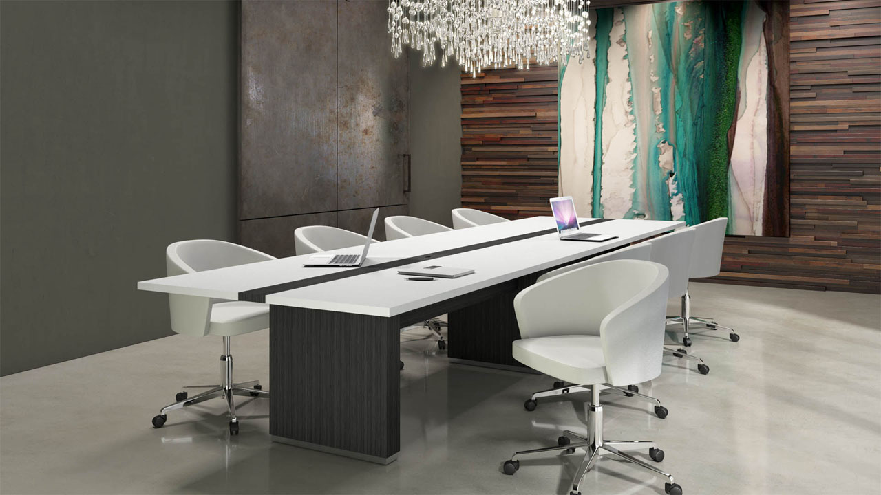 Rendering of a meeting room with a large modern table for eight persons, with textured walls and abstract art.