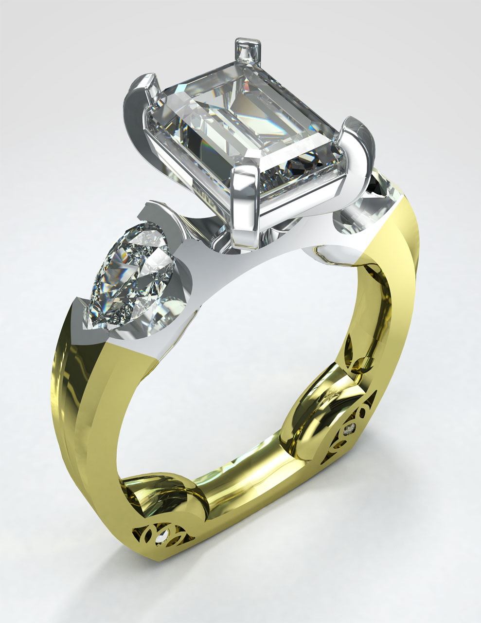 3D rendering of an ornate ring including a large solitaire diamond with two pear cut smaller diamonds on a platinum setting with a gold band.