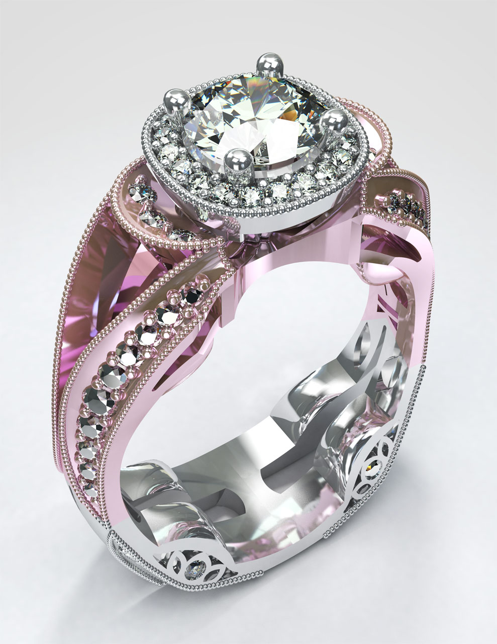 Rendering of a unique solitaire ring with a rose gold upper half and white gold lower half, with many small highlighting diamonds on its periphery.