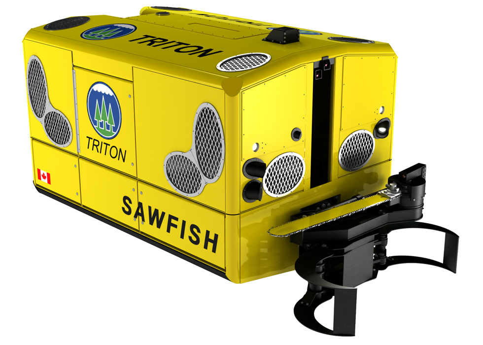 A beauty rendering of the Triton Sawfish, a remote underwater submersible shown in three quarter view with bright yellow finish.