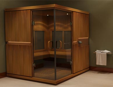Rendering of a large sauna in one corner of a hotel room.
