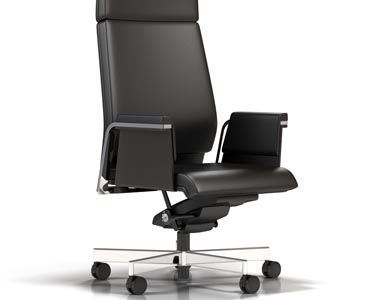 White room rendering of a high back task chair in black leather with chrome trim.