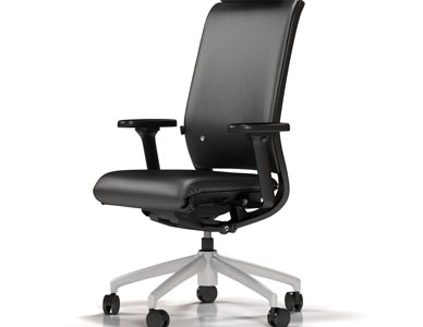 White room rendering of a black leather high back task chair with head support.