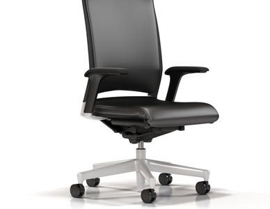 A rendering of a black leather high back task chair against a white background.