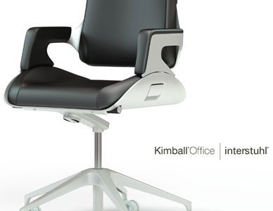 Three task chair renderings for Kimball Office and Interstuhl, including Silver, Mitos and Xantos chairs in black leather.