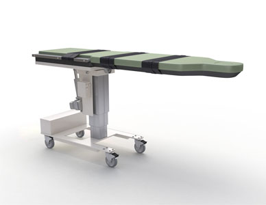 A white room marketing image of a flat medical bed in a standard flat position.
