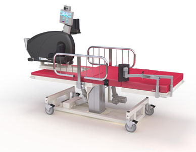 A complex medical bed with casters and a red vinyl finish, with attached medical hardware.