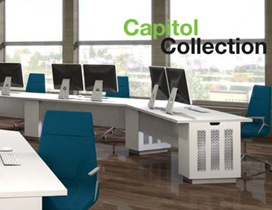 Computer generated imagery of office desking furniture designed to conceal a computer case.