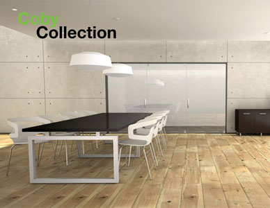 Rendering of a modern style meeting table in a well lit conference room with wooden floors.