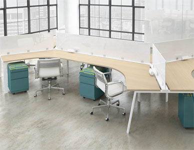 Rendering of a modular desking system with semi transparent white privacy panels between 6 workstation areas.