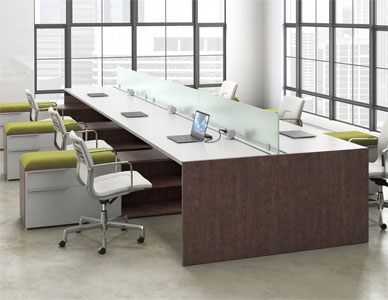 Rendering of a large common desking area for six workstations, with a frosted glass partition.