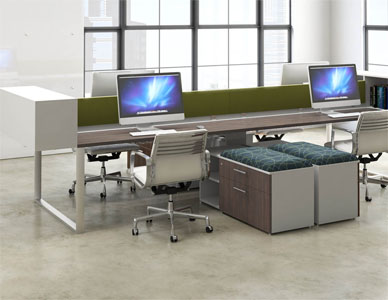 3D visualization of a large multi person desking system for four employees, including a combination storage and visitor seating base.