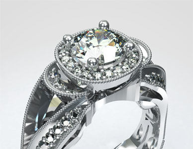 Rendering of a heavily jeweled ring design with filigree on all edges and dozens of highlighting small diamonds surrounding a large central solitaire diamond.