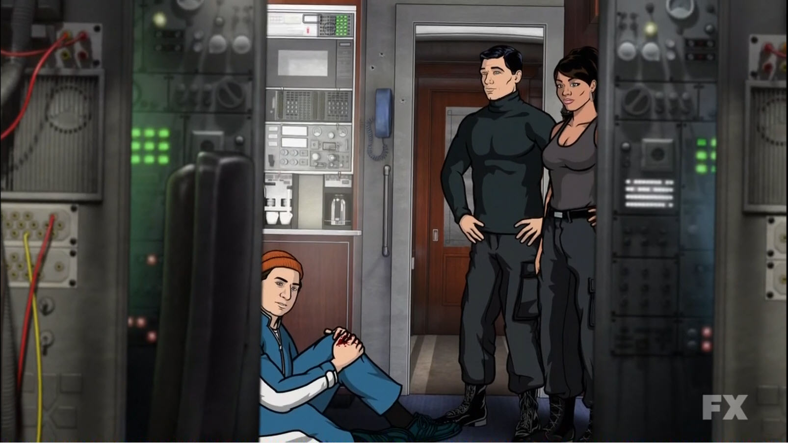 One of the more technical animation backgrounds from Archer - a submarine interior.