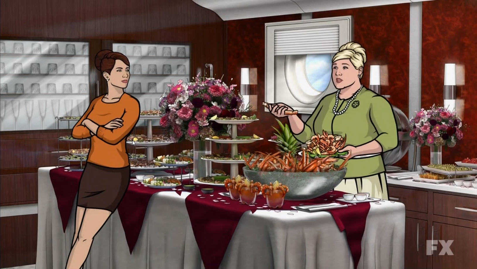 A detailed buffet, one of the animation backgrounds from Archer.